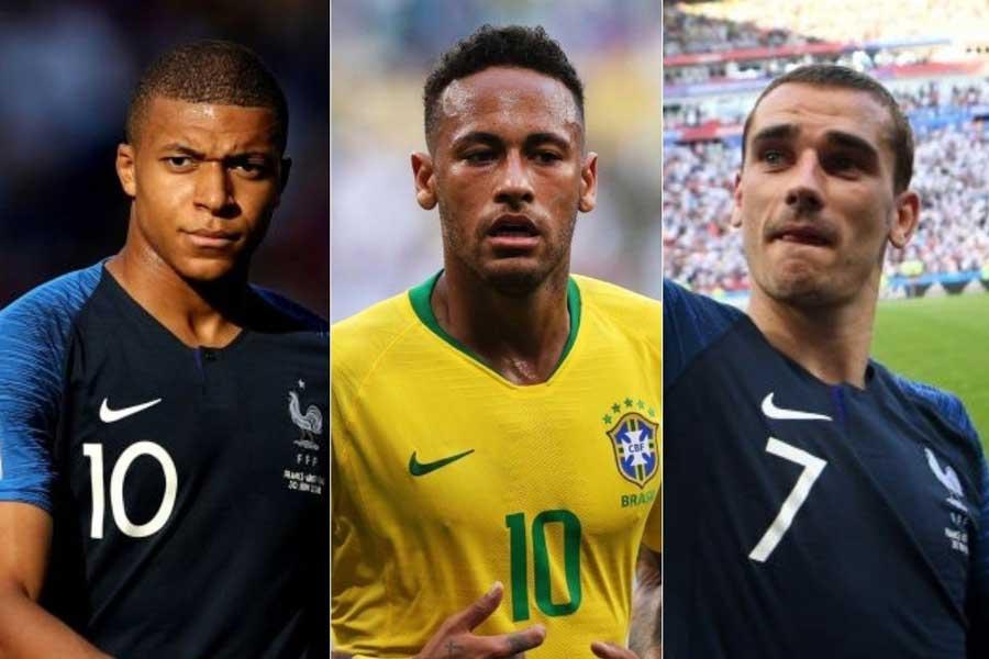 スペイン紙が挙げたバロンドールの新たな受賞候補3選手(左から)ムバッペ、ネイマール、グリーズマン【写真:Getty Images】