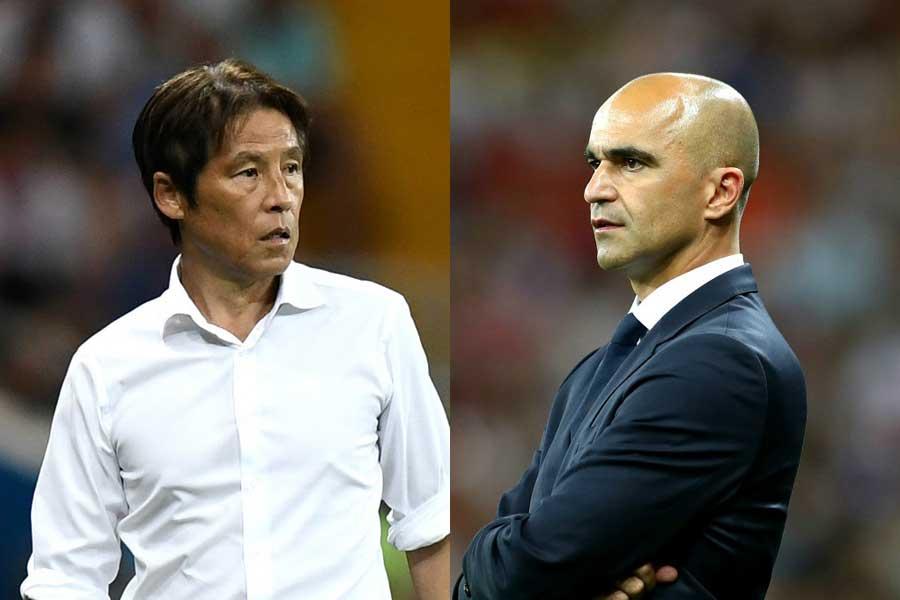 海外メディアは西野監督(左)の選手交代を日本の敗因と指摘、マルティネス監督との明暗について触れている【写真:Getty Images】