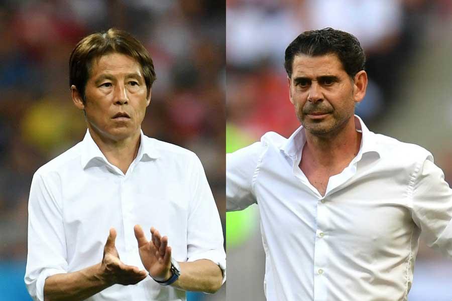(左から)日本代表・西野監督、スペイン代表・イエロ監督【写真:Getty Images】