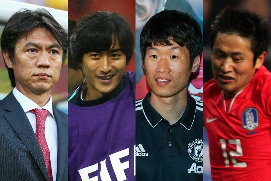(左から)ホン・ミョンボ、アン・ジョンファン、パク・チソン、イ・ヨンピョ【写真:Getty Images】
