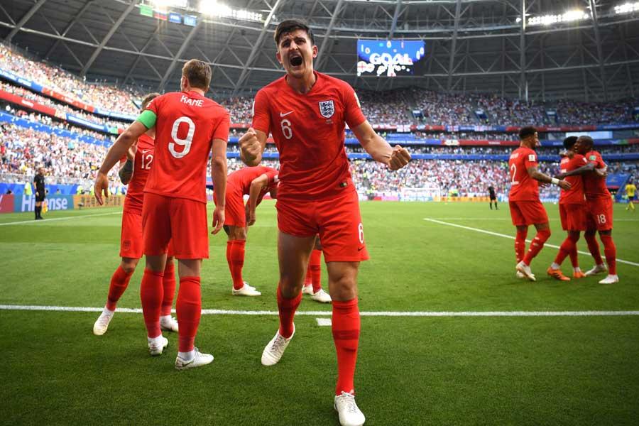 イングランドはマグワイアの先制ゴールで前半を1-0とリードで折り返す【写真:Getty Images】
