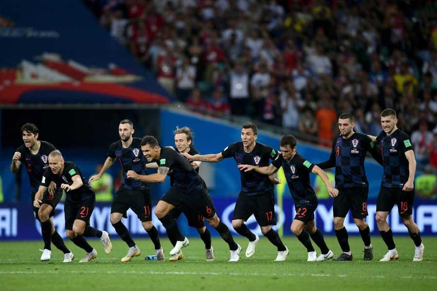 ロシア対クロアチアの一戦は、2-2でもつれ込んだPK戦をクロアチアが4-3で制し、準決勝進出を決めた【写真:Getty Images】
