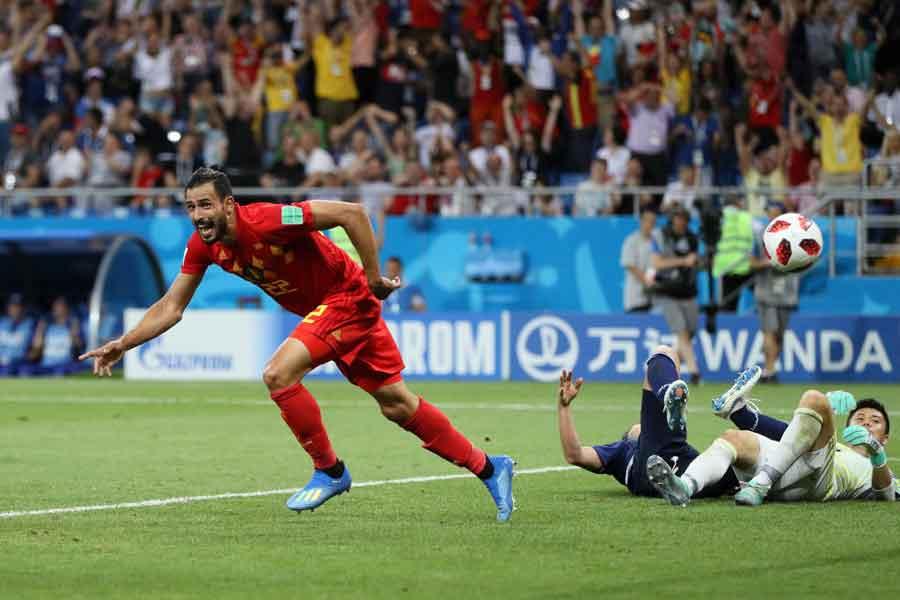 ベルギー代表MFシャドリは、決勝トーナメント1回戦で死闘を繰り広げた日本戦を振り返った【写真:Getty Images】