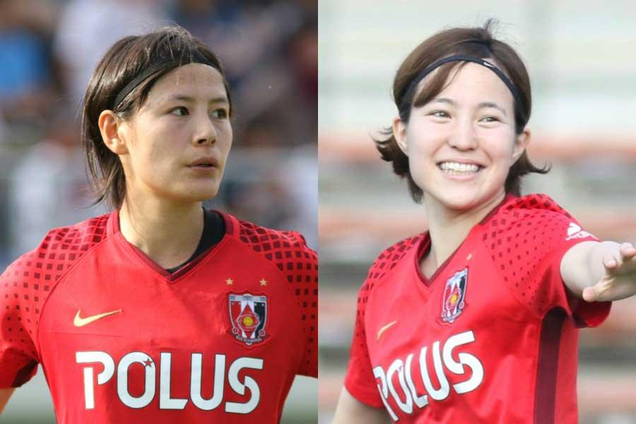 北川(右)が自身の公式ツイッターで、猶本(左)への感謝を綴った【写真:Football ZONE web】