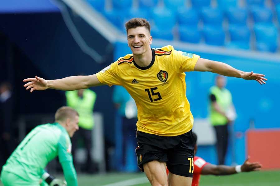 ムニエの先制ゴールでベルギーが1-0とリードしてハーフタイムを迎えた【写真:Getty Images】