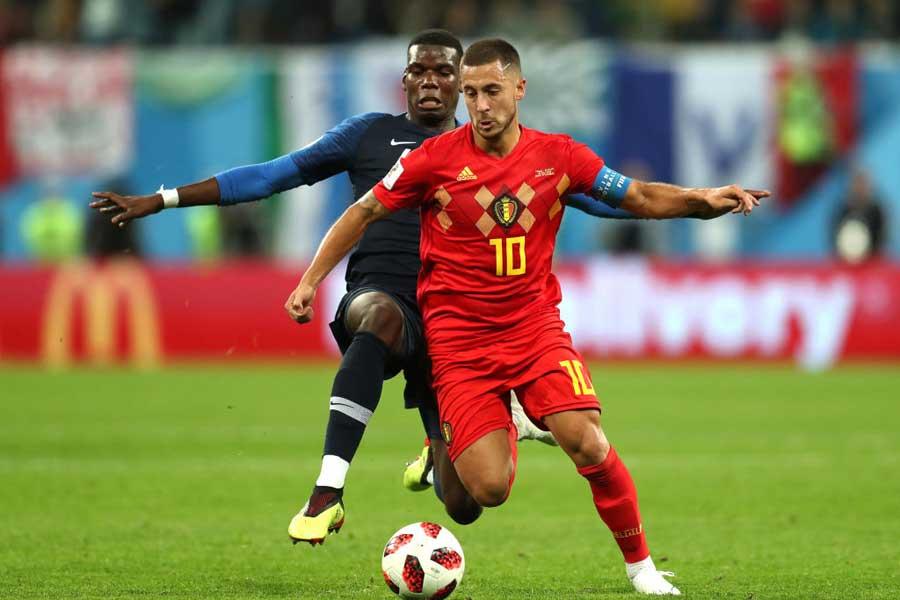 ベルギー代表MFアザールは、大会最高のドリブラーの称号を与えるにふさわしい活躍と言えるだろう【写真:Getty Images】