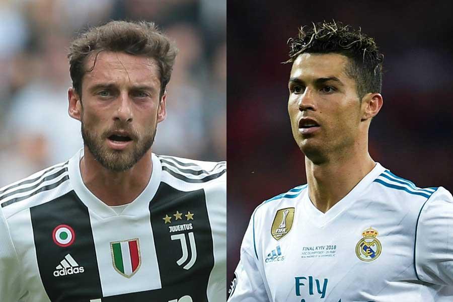 イタリアメディアはマルキージオ(左)が発した、C・ロナウド(右)へのコメントに注目している【写真:Getty Images】