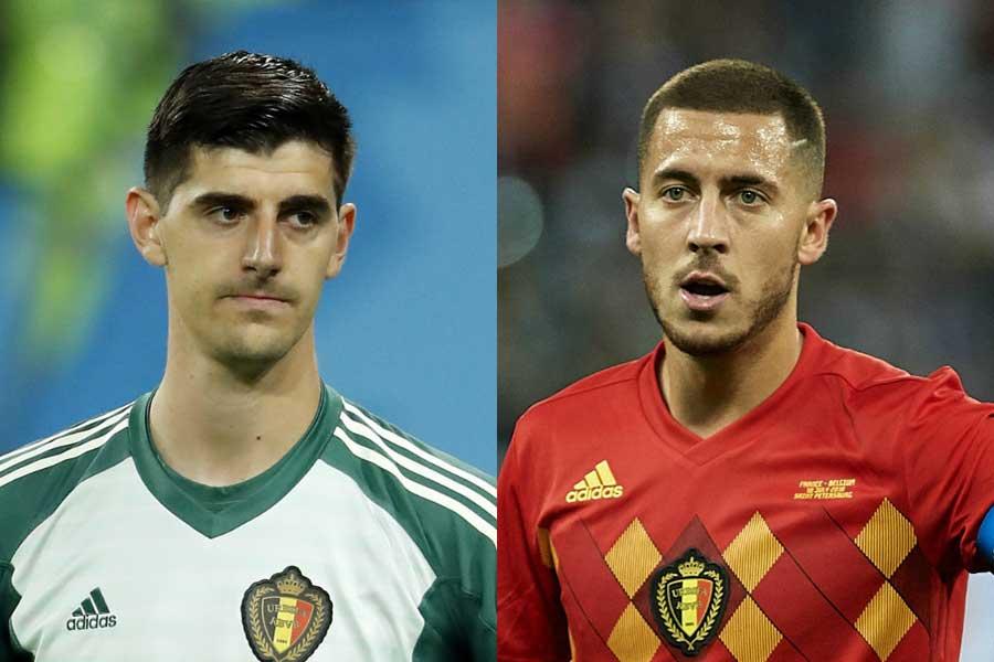 """レアルがクルトワ(左)とアザール(右)の""""ベルギーコンビ""""獲得に本腰を入れているようだ【写真:Getty Images】"""