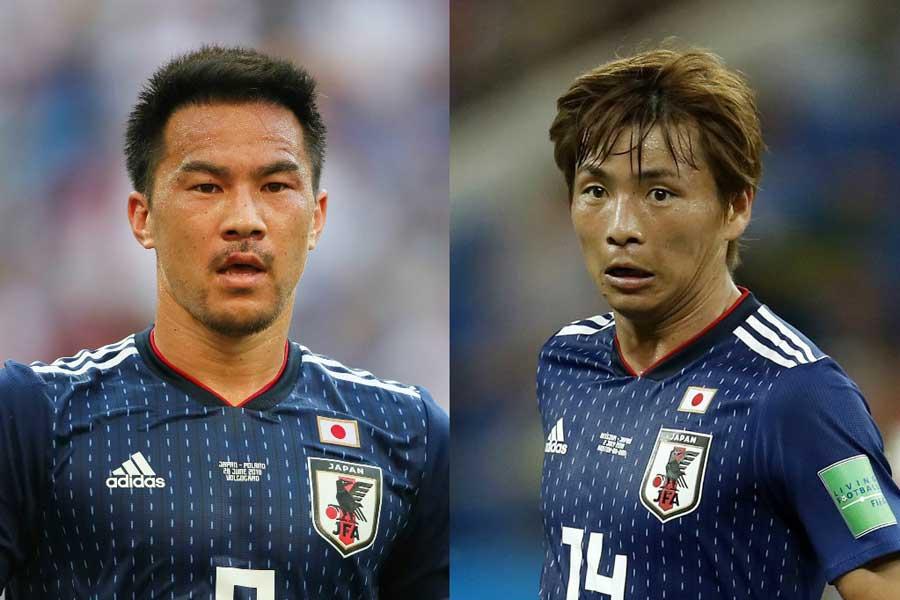ロシアW杯をともに戦った岡崎(左)と乾(右)が、束の間のオフを過ごした【写真:Getty Images】