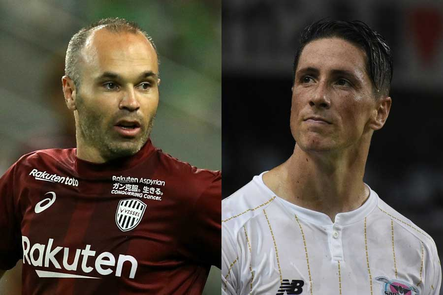 Jリーグデビューを果たしたイニエスタ(左)とトーレス(右)【写真:Getty Images】