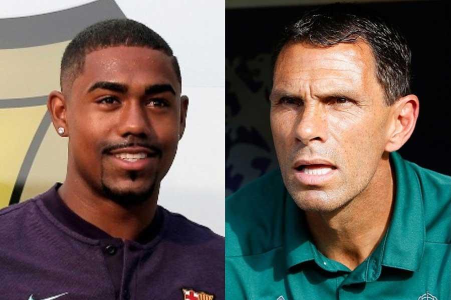 (左)バルセロナに加入するMFマルコムと(右)ボルドーのグスタボ・ポジェ監督【写真:AP&Getty Images】