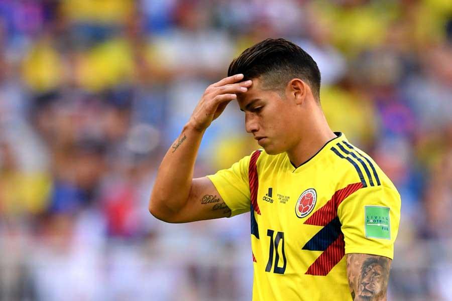 決勝トーナメント1回戦のイングランド戦を欠場する可能性が出てきた、コロンビア代表MFハメス・ロドリゲス【写真:Getty Images】