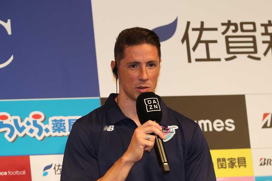 F・トーレスは都内で新加入記者会見に臨み、サガンサポーターへ意気込みを語った【写真:Football ZONE web】