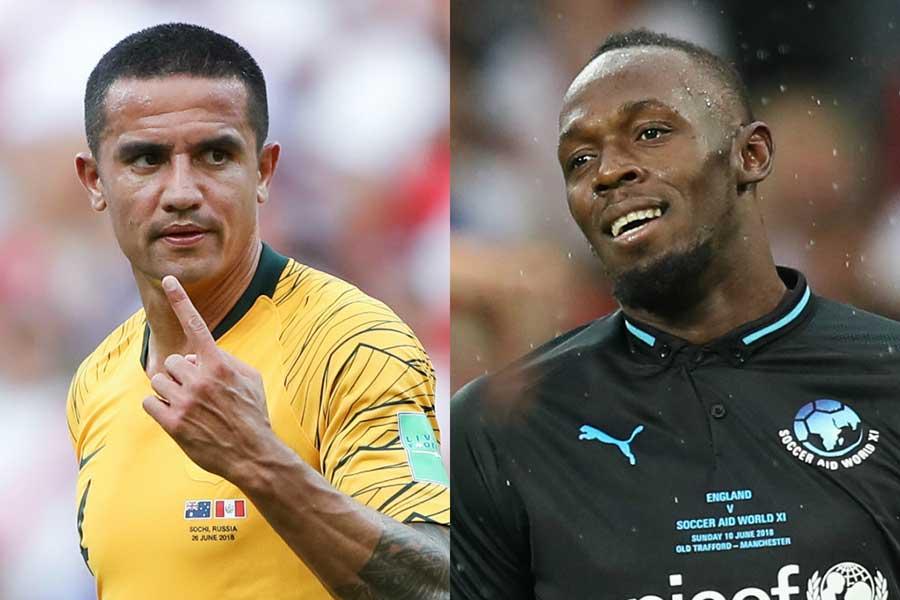 ケーヒル(左)がサッカー選手転向が噂されるボルト(右)について言及した【写真:Getty Images】