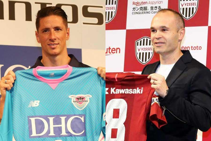 鳥栖に加入したトーレス(左)、神戸に加入したイニエスタ(右)【写真:Getty Images & Football ZONE web】