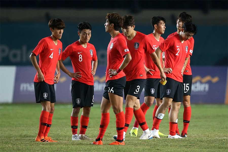 格下マレーシアに1-2敗戦を喫したU-23韓国代表【写真:AP】