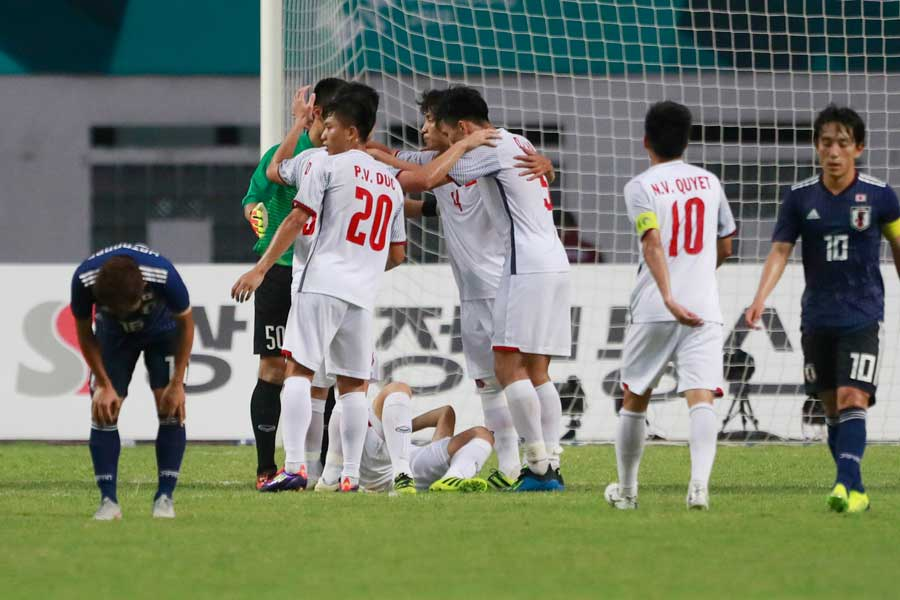 U-21日本代表は、2勝1敗でグループ2位通過となった【写真:AP】
