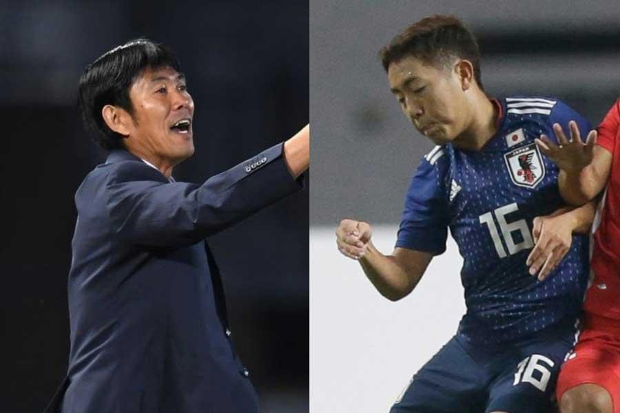 (左から)森保監督、MF渡辺皓太【写真:Getty Images&AP】