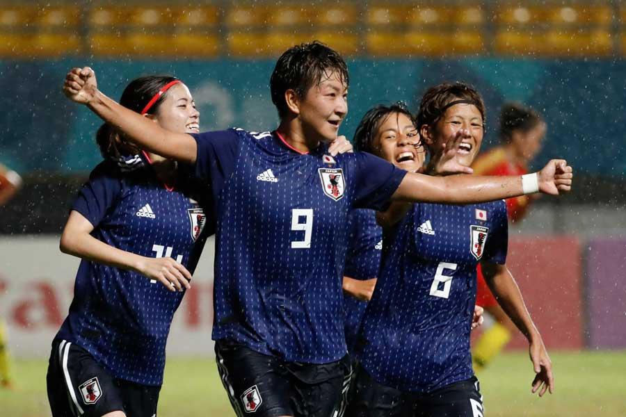アジア大会決勝で決勝ゴールを挙げた菅澤【写真:AP】