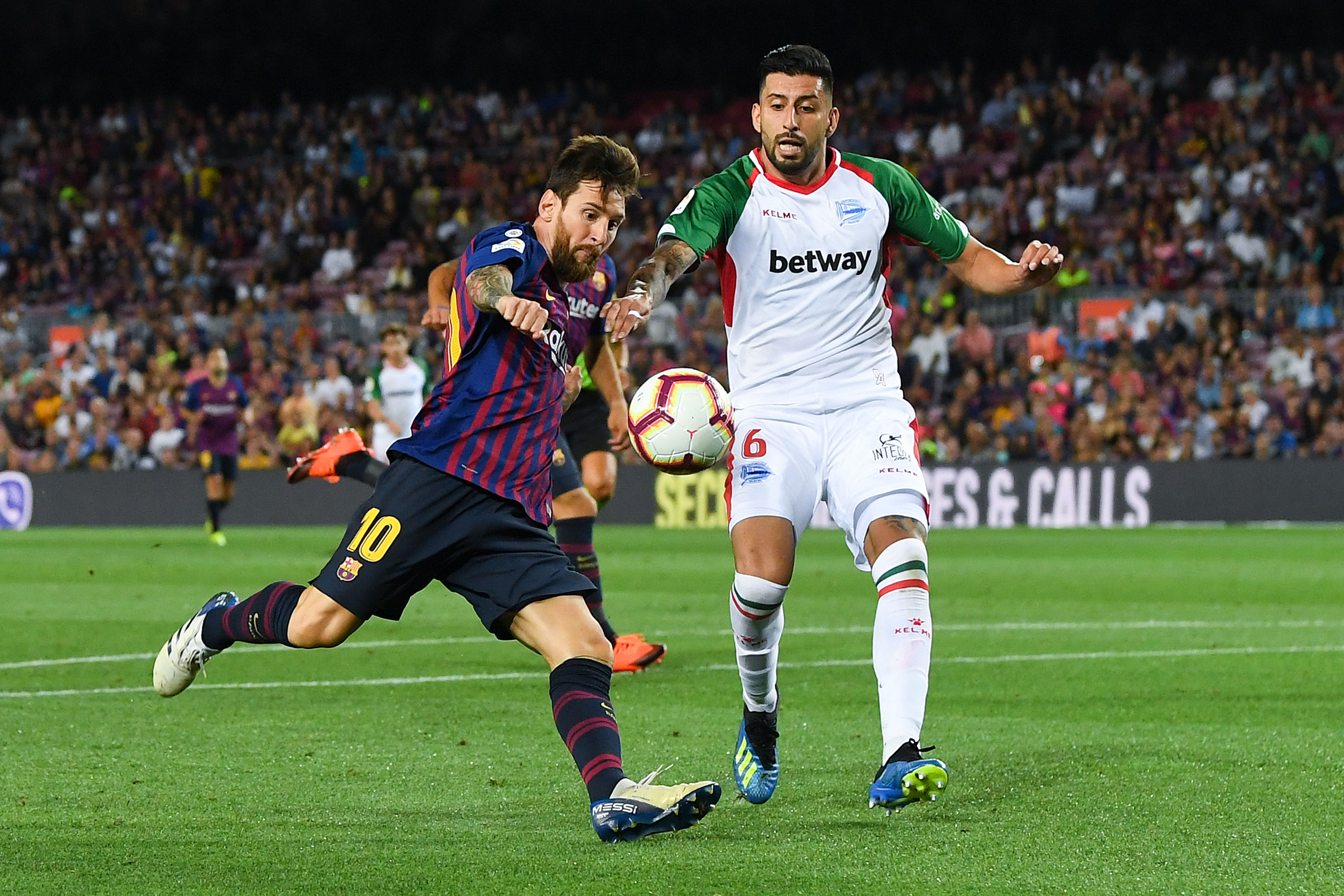 2ゴールを決めたバルセロナFWリオネル・メッシ【写真:Getty Images】