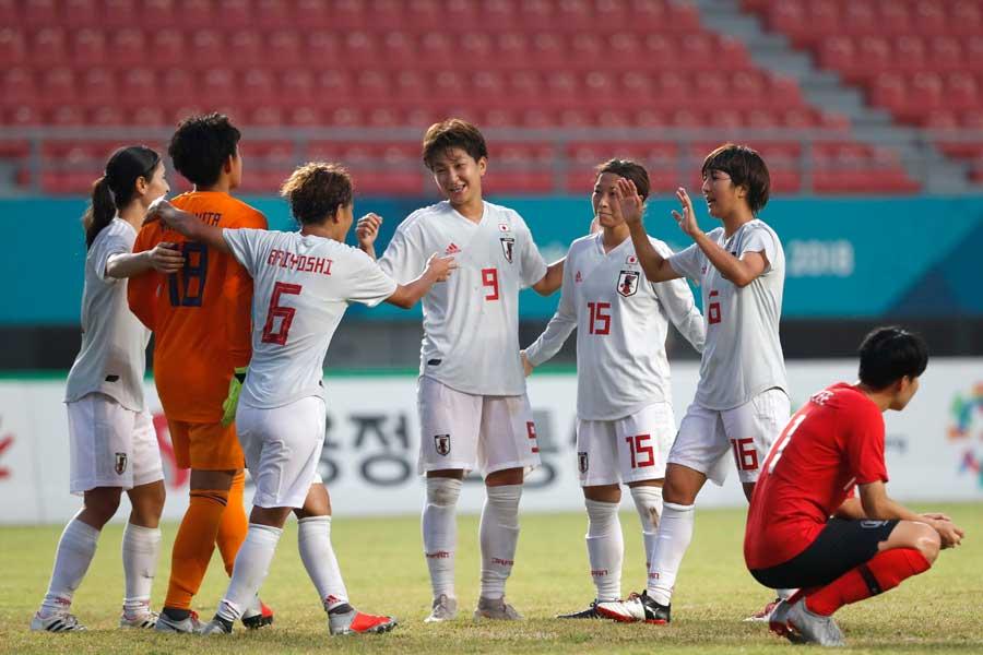 韓国女子代表は、なでしこジャパンと対戦し1-2で敗れて決勝進出を逃した【写真:AP】