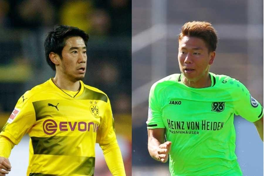 (左から) 香川、浅野【写真:Getty Images】