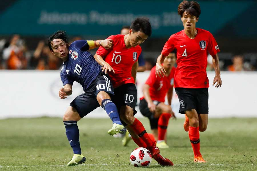 アジア大会男子サッカー決勝は、スコアレスのまま延長戦へ【写真:AP】
