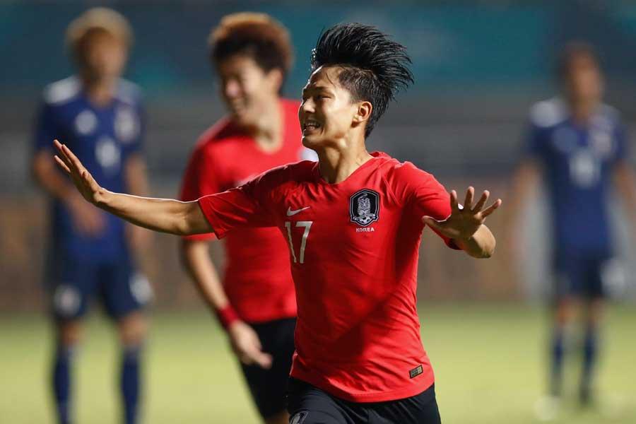 先制点を決めたU-23韓国代表FWイ・スンウ【写真:AP】