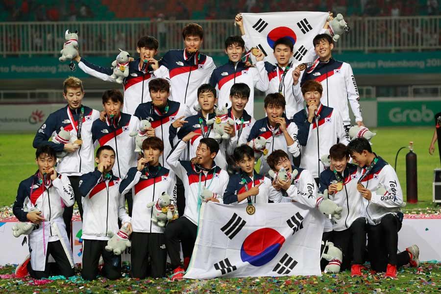 韓国は男子野球に続き男子サッカーでも金メダルを獲得した【写真:AP】