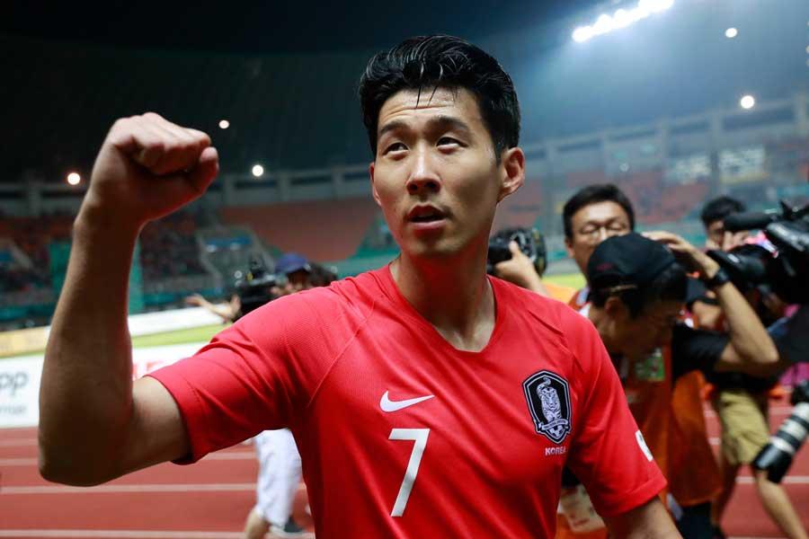 兵役免除を勝ち取った韓国代表FWソン・フンミン【写真:AP】