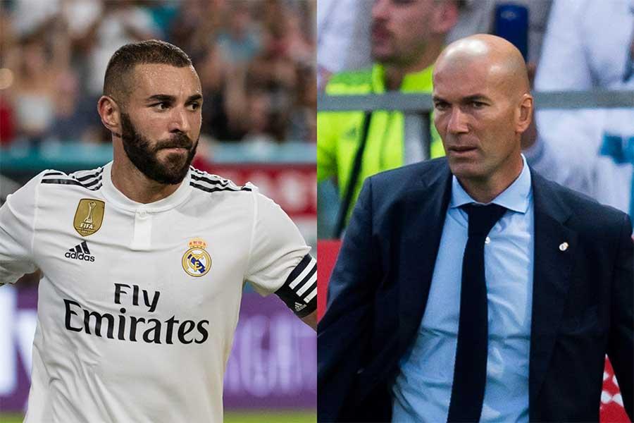 昨季までレアルを率いたジダン氏(右)が、FWベンゼマ(左)を称賛した【写真:Getty Images】