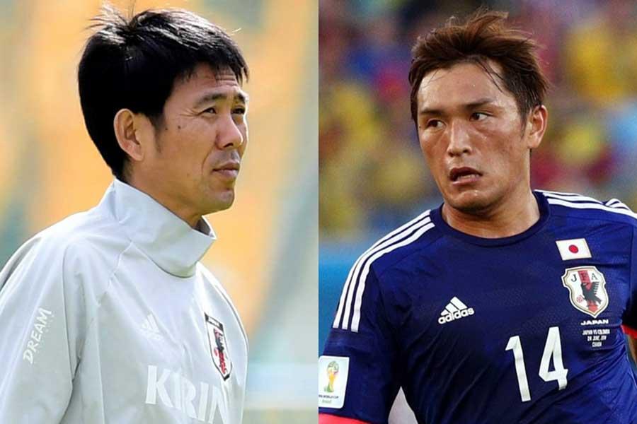 日本代表の森保監督(左)と主将に任命された青山【写真:Getty Images】