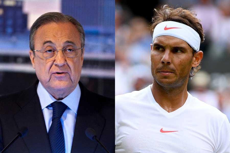 レアルのペレス会長(左)は、自身の後継者に男子テニスのナダル(右)が望ましいと口にした【写真:Getty Images】
