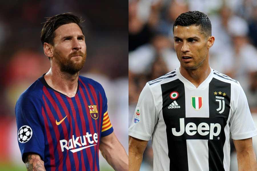 FIFA年間最優秀選手投票で、メッシ(左)がC・ロナウド(右)に初の一票を投じた【写真:Getty Images】