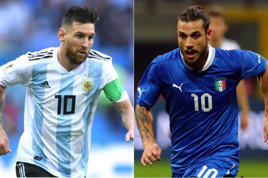 (左から)アルゼンチン代表FWメッシ、元イタリア代表FWオスバルド氏【写真:Getty Images】