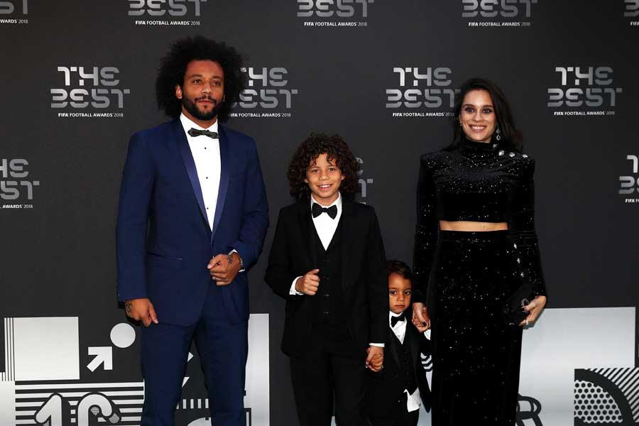 ブラジル代表DFマルセロの息子エンツォ君(左から2番目)【写真:Getty Images】