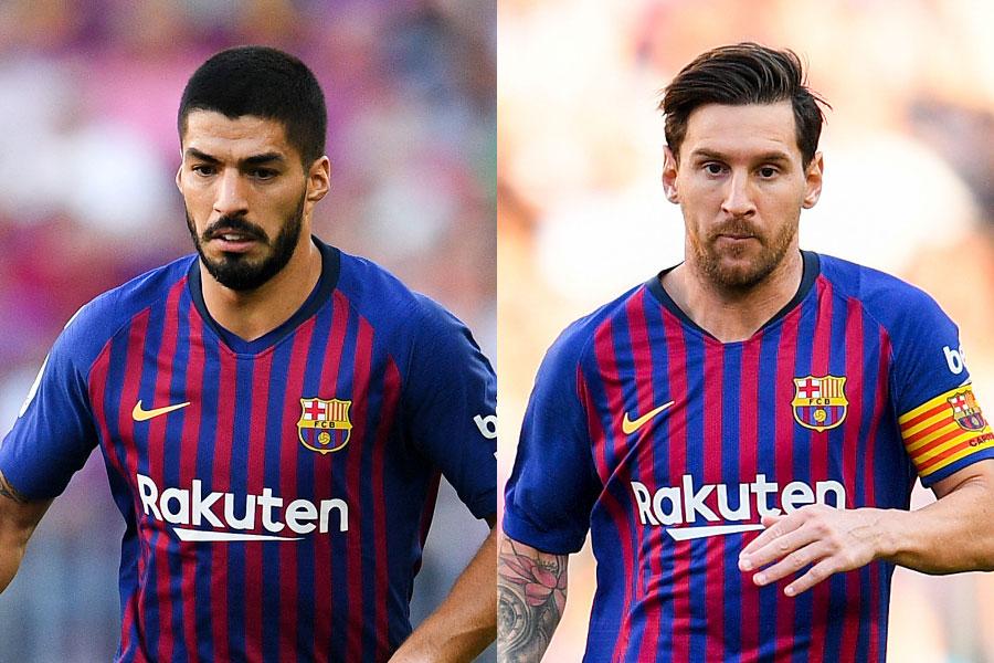バルセロナのFWスアレス(左)、FWメッシ(右)【写真:Getty Images】