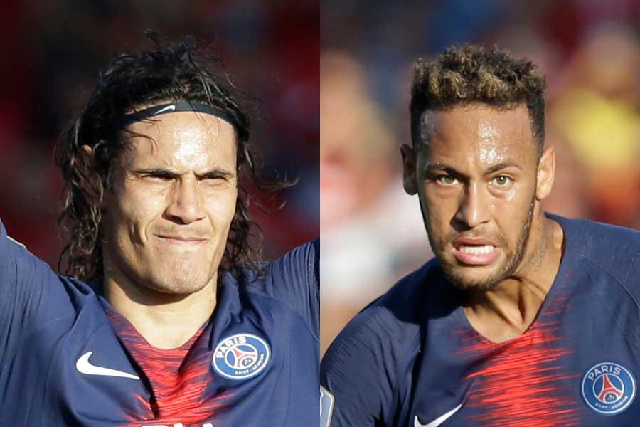 パリ・サンジェルマンのFWカバーニ(左)、FWネイマール(右)【写真:AP】