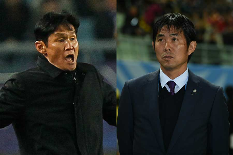 アジア大会決勝の日韓戦を前に、チェ・ヨンス氏(左)と森保監督(右)が言葉を交わしたという【写真:Getty Images】