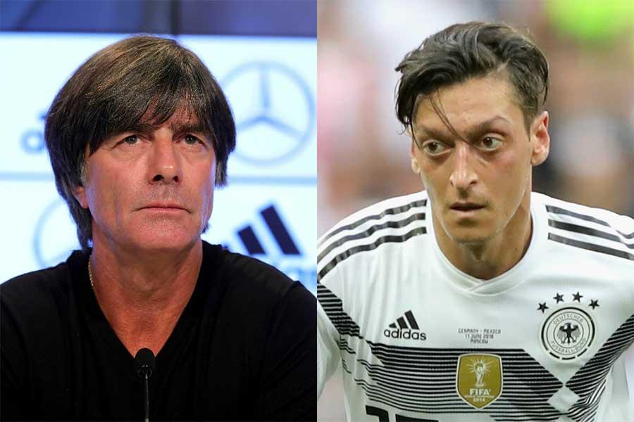 ドイツ代表を率いるレーブ監督(左)は、事実上の代表引退を表明したエジル(右)について「残念」とコメントした【写真:Getty Images】