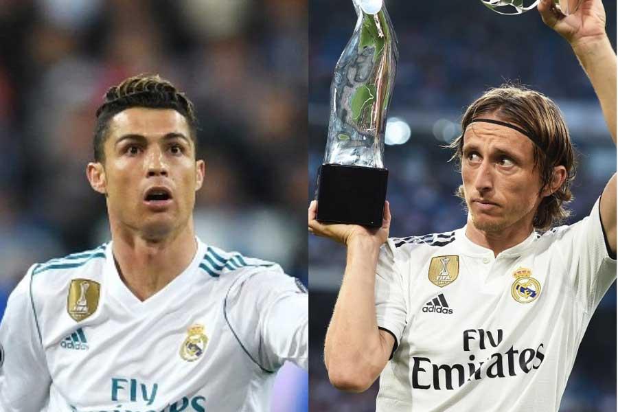 UEFA最優秀選手賞受賞したモドリッチ(右) 祝福しないロナウド(左)の行動をクロアチア監督が疑問視【写真:Getty Images】