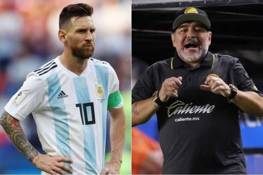 (左から)アルゼンチン代表FWメッシ、マラドーナ氏【写真:Getty Images】