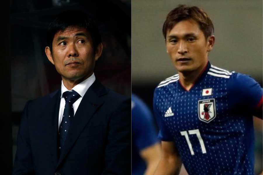 (左から)日本代表の森保監督、MF青山【写真:田口有史】