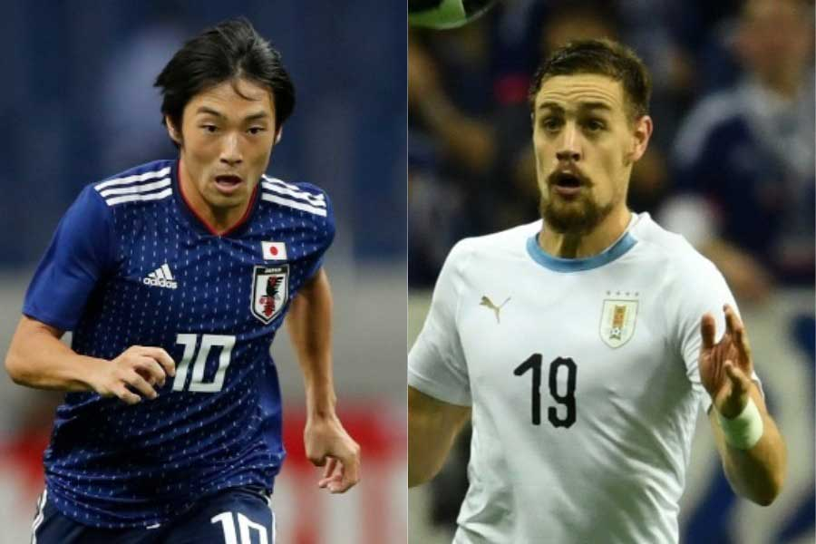 (左から)日本代表MF中島、ウルグアイ代表DFコアテス【写真:田口有史&Getty Images】