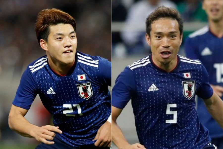 (左から)日本代表MF堂安、DF長友【写真:田口有史】