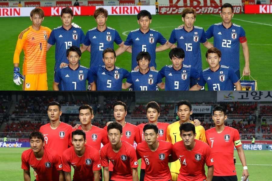 (上から) 日本代表、韓国代表【写真:田口有史 & Getty Images】