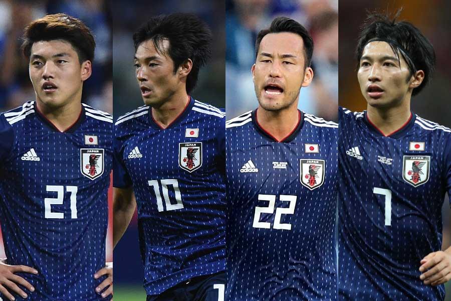 (左から)堂安、中島、吉田、柴崎【写真:Getty Images】