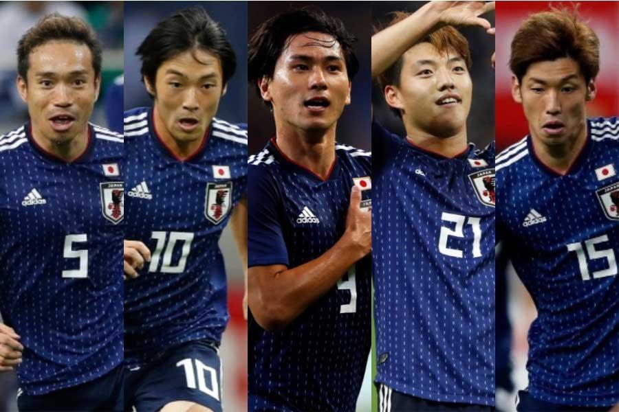 (左から) 長友、中島、南野、堂安、大迫【写真:田口有史】