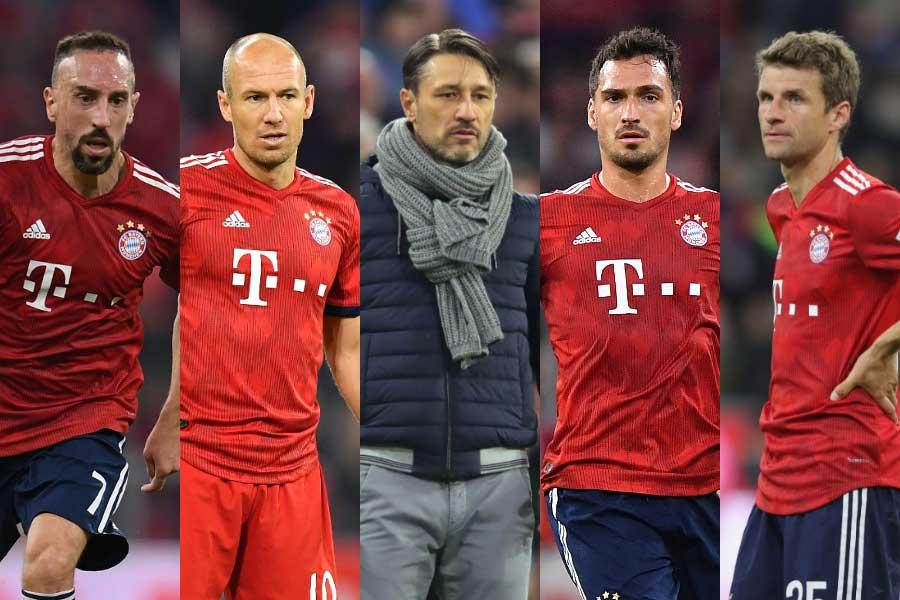 (左から)MFリベリー、MFロッベン、コバチ監督、DFフンメルス、FWミュラー【写真:Getty Images】