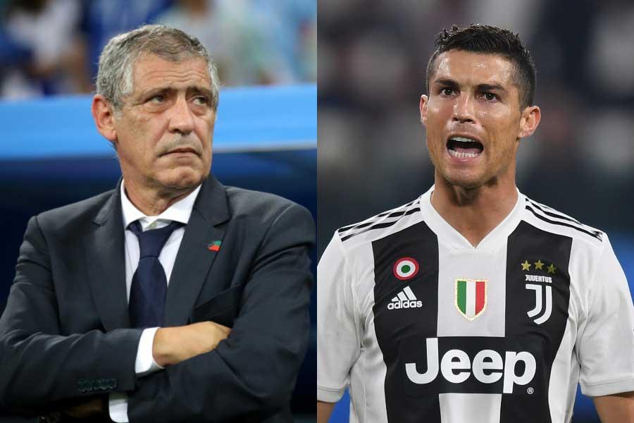 ポルトガル代表のサントス監督(左)は、ロナウド(右)がバロンドールにふさわしいと説いた【写真:Getty Images】